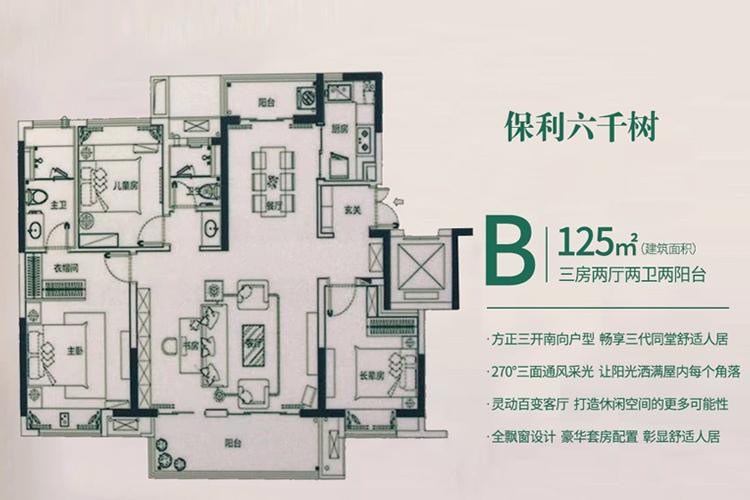 B户型 建面约125平 三房两厅