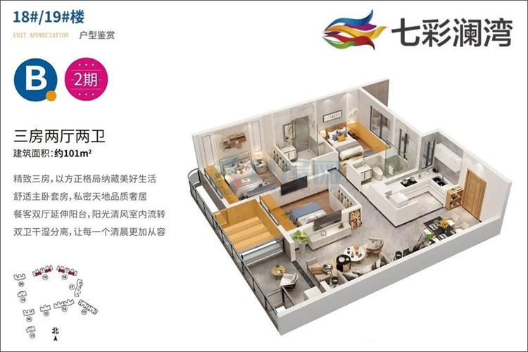 18#/19#楼2期B户型-建面约101㎡-三房两厅两卫